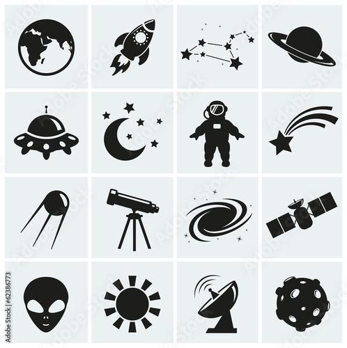 Fototapeta samoprzylepna Space and astronomy icons. Vector set.