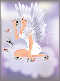 Sexy angel girl and poker cards, vector illustration