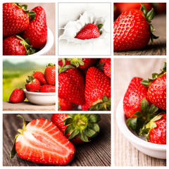 Photo collage of fresh strawberries.
