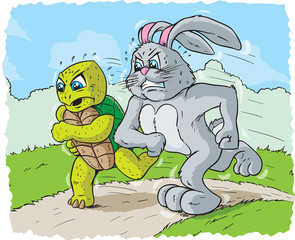 Rabbit and turtle racing