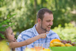 Family on picnic at summer park or backyard