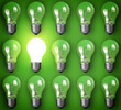 canvas print picture - Idea concept with light bulbs on green background