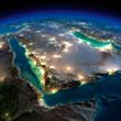 Leinwandbild Motiv Night Earth. Saudi Arabia