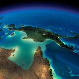 Night Earth. Australia and Papua New Guinea