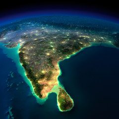 Night Earth. India and Sri Lanka