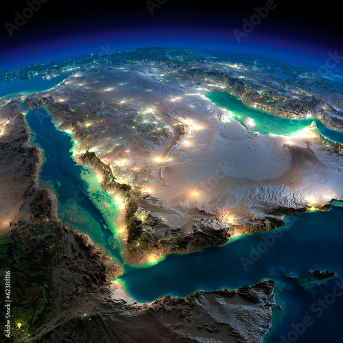 Fototapeta Night Earth. Saudi Arabia