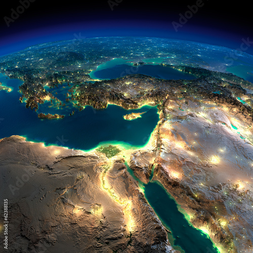 Leinwanddruck Bild Night Earth. Africa and Middle East