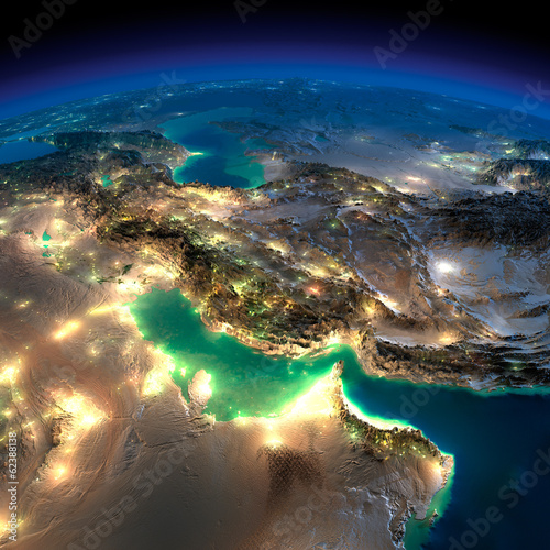 Night Earth. Persian Gulf