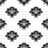 Floral damask arabesque motifs seamless pattern