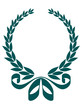 Foliate laurel wreath with a decorative ribbon