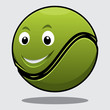 Happy bouncy green cartoon tennis ball