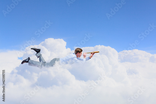Flying businessman