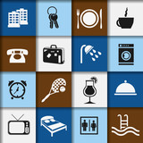 hotel and accommodation icons poster
