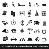 travel and accommodation icons poster