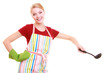 Housewife or cook chef in colorful kitchen apron with ladle