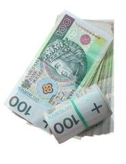Money and savings. Stack of 100's polish zloty banknotes