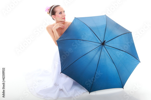 Wedding day. Bride with blue umbrella isolated