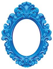 Cadre baroque ovale bleu