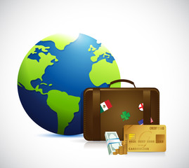 globe, money and travel suitcase illustration