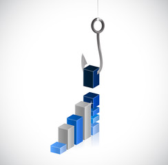 business graph and hook illustration design