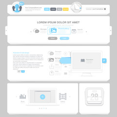 Flat Website design template with icons and symbols