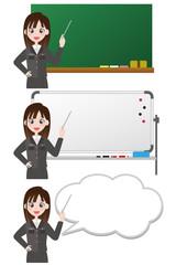 女性 黒板 ホワイトボード