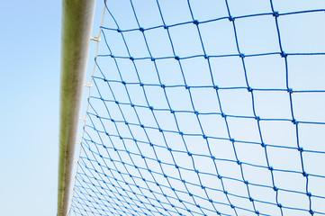 Blue net soccer goal.