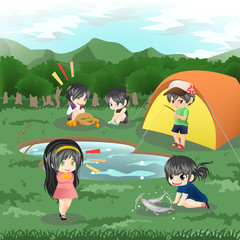 Children are camping in the wilderness (vector)