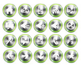 Green light Metallic style phone phone icon buttons set