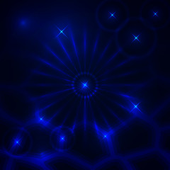 Vector abstract dark background with glowing rays and stars