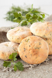 Flat bread of wheat flour with dill and parsley