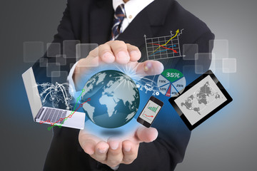 Businessman used hand for cover technology tool