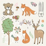 set of wild animals. Hand drawn illustration