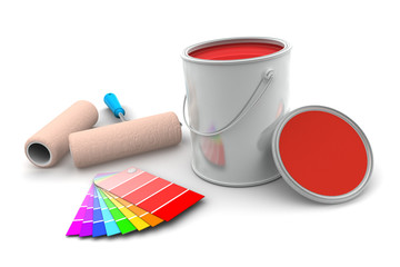 Tin of Red Paint and Roller Brush