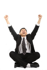 Asian businessman sit and cheerful