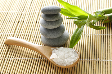 sea salts in wooden bowl with bamboo on bamboo mat