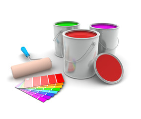 Three Tin of Paint and Swatch