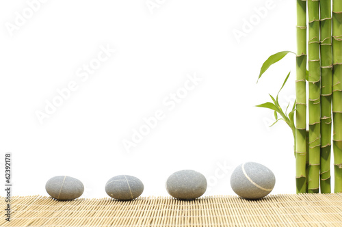 Staande foto Bamboo spa frame made from three stones and bamboo grove