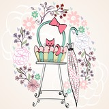 Vintage card vector with cat in bright colors