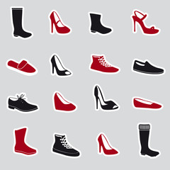 boots and shoes stickers eps10