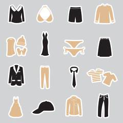 clothing stickers set eps10