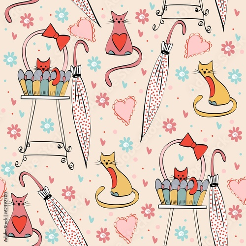 Vintage seamless pattern with cats in bright colors