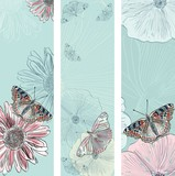 Vector set of beautiful butterflies and flowers.