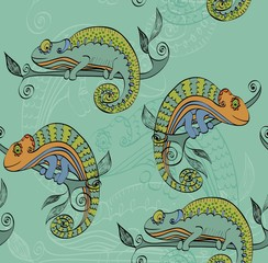 Vector hand drawn illustration with cartoon Chameleon