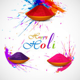 Gulal holi powder in colorful festival celebration beautiful vec