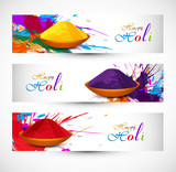 Beautiful holi festival celebration header set colorful backgrou