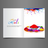 Beautiful background of indian festival holi greeting card with