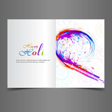 Beautiful greeting card with colorful indian festival holi text