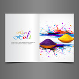 Greeting card colorful background of indian festival holi with c