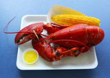 Boiled Maine lobster with corn